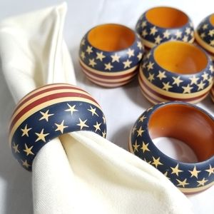 Vintage Americana Wood Napkin Rings Set of 8